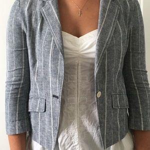 american eagle grey and white striped blazer